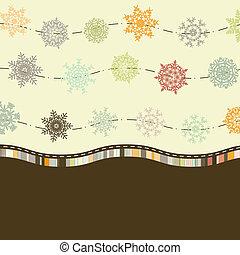 テンプレート, 8, レトロ, カード, eps, snowflakes.