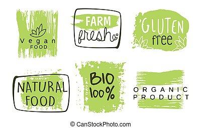 テンプレート, bio, 農場, 自然, gluten, セット, ラベル, eco, イラスト, 手, 食料 品, ベクトル, 緑, 無料で, 引かれる, 有機体である, 健康, バッジ
