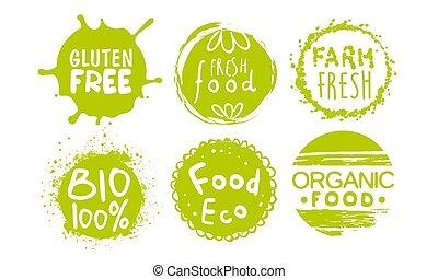 テンプレート, bio, 農場, 自然, gluten, セット, ラベル, eco, イラスト, 食料 品, ベクトル, 緑, 無料で, 有機体である, 健康, バッジ