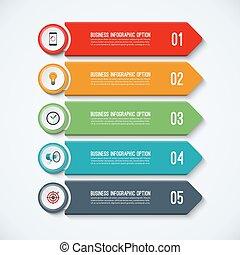 テンプレート, infographic, ステップ, 4, 矢, オプション