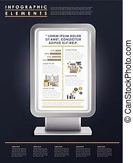 テンプレート, infographic, デザイン, マーケティング, 概念