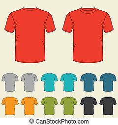 テンプレート, men., セット, 有色人種, tシャツ