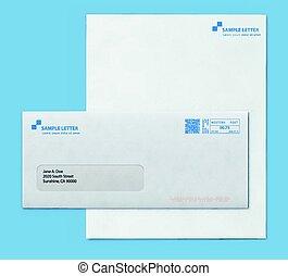 テンプレート, mockup, 封筒, ペーパー, 手紙, ポスト