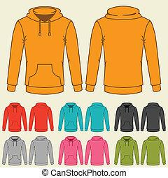 テンプレート, sweatshirts, セット, 有色人種, women.