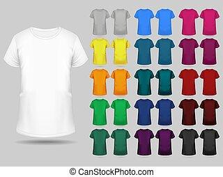 テンプレート, tシャツ, 別, 色, コレクション