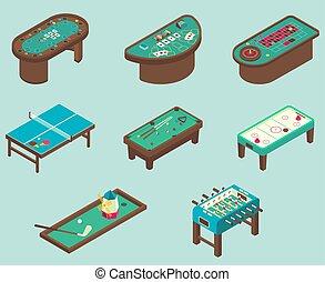 テーブルのゲーム, ベクトル, 平ら, 等大, アイコン, セット
