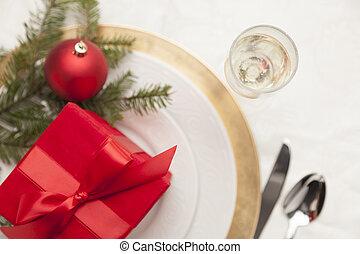 テーブルの 設定, 場所, クリスマスの ギフト