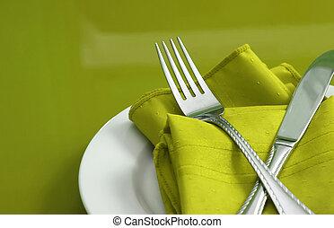テーブルの 設定, 緑, ライム