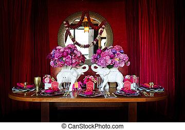 テーブルの 設定, indian, 結婚式