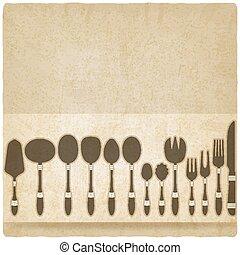 テーブルウェア, セット, 古い, cutlery, 背景