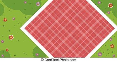 テーブルクロス, 平ら, 牧草地, 隔離された, ベクトル, ピクニック