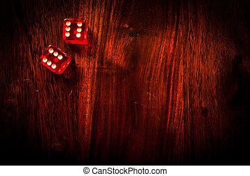 テーブル, さいころ, 赤