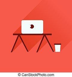 テーブル, アイコン, ラップトップ, 長い間, 影, 平ら