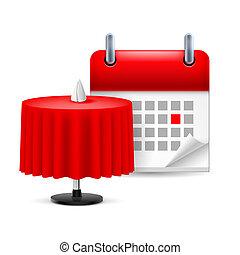 テーブル, カレンダー, レストラン