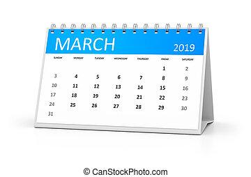 テーブル, カレンダー, 3月, 2019