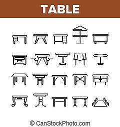 テーブル, コレクション, 要素, ベクトル, セット, アイコン, 机