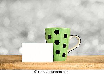 テーブル, コーヒー, の上, mock, カップ
