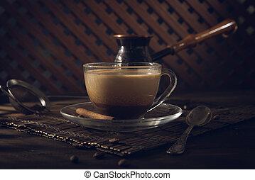 テーブル, コーヒー, クリーム, 黒, カップ