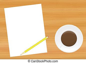テーブル, コーヒー, ページ, カップ