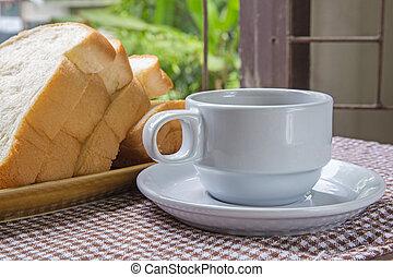 テーブル, コーヒー, bread, カップ