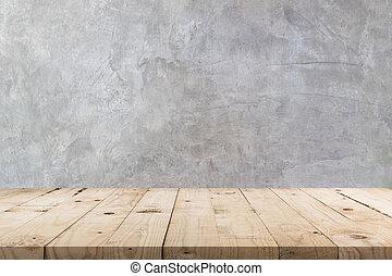 テーブル, スペース, コピー, 手ざわり, 背景, 木製である, ディスプレイ, モンタージュ, product., 空, 壁, コンクリート
