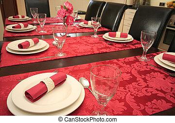 テーブル, セット, 夕食。