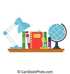 テーブル, セット, 教育, アイコン