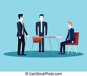 テーブル, チームワーク, ビジネスマン, オフィス家具