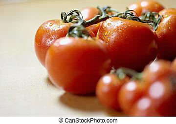 テーブル, トマト, 熟した, 台所