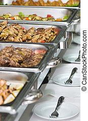 テーブル, トレー, 食事, 宴会, サービスされた