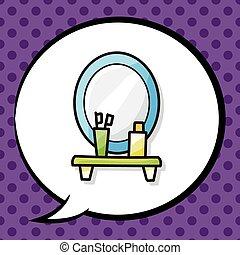 テーブル, ドレッシング, いたずら書き
