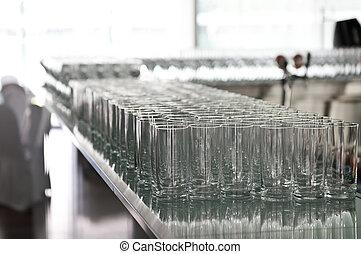 テーブル, バー, たくさん, ガラス