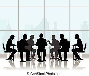 テーブル, ビジネスマン, 交渉