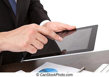 テーブル, ビジネスマン, 保有物, タブレット, グラフィックス