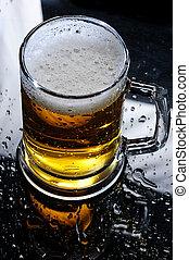 テーブル, ビール, mirrow