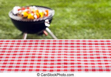 テーブル, ピクニック, 空, 背景
