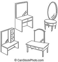 テーブル, ベクトル, セット, ドレッシング
