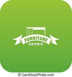 テーブル, ベクトル, 緑, オフィス, アイコン