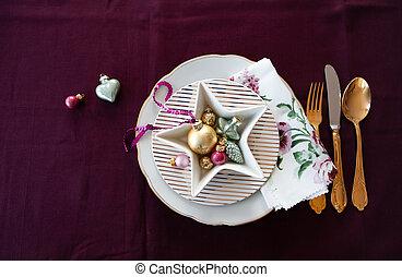 テーブル, ホリデー, 設定, お祝い