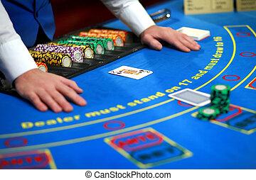 テーブル, ポーカー, カジノ