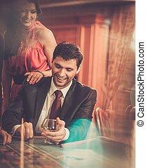 テーブル, ポーカー, カジノ, 恋人, の後ろ