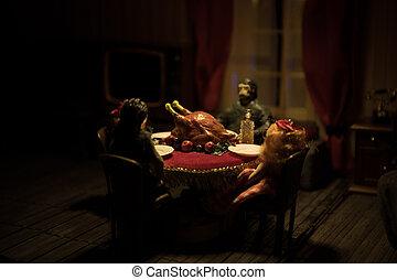 テーブル。, ミニチュア, そっくりそのまま, 手製, フォーカス, 感謝祭, 精選する, turkey., トルコ