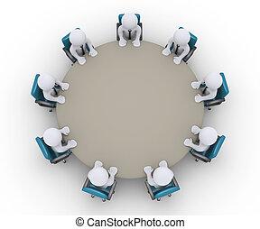 テーブル, ミーティング, のまわり, ビジネスマン