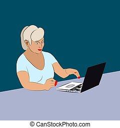 テーブル, ラップトップ, 女, 仕事, ビジネス