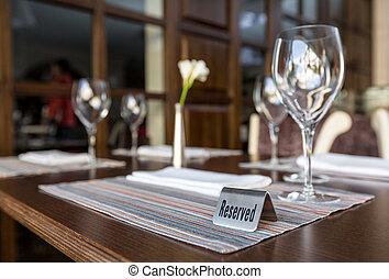 テーブル, 予約された, レストラン