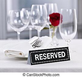 テーブル, 予約された, ロマンチック, レストラン