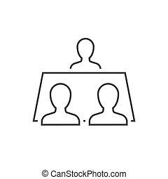 テーブル, 人々, アウトライン, アイコン, モデル