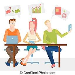 テーブル, 人々, 3, ビジネス, モデル