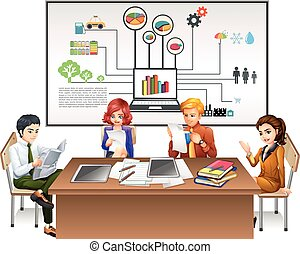 テーブル, 仕事, ビジネス 人々