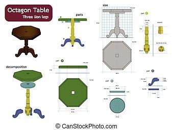 テーブル, 八角形